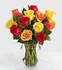 12 Autumn Roses with Glass Vase