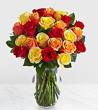 24 Autumn Roses with Glass Vase