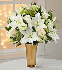 Holiday Glamour Rose & Lily Bouquet - VASE INCLUDED