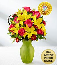 Sweet Celebrations Rose & Lily Birthday Bouquet - VASE INCLUDED