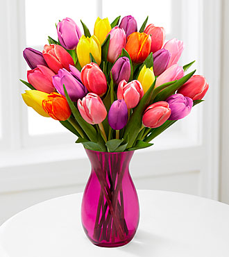 Life in Color Tulip Bouquet - 25 Stems - PINK VASE INCLUDED