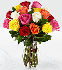 Mixed 18 Long Stem  Roses - VASE INCLUDED