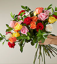 Mixed 2 Dozen Long Stem  Roses - VASE INCLUDED