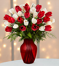 Merry Moments Holiday Tulip Bouquet-RED VASE INCLUDED