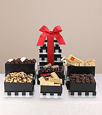 Holiday Buffalo Plaid Gourmet Gift Tower