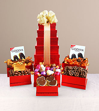 Red Hot Godiva® Treats Tower