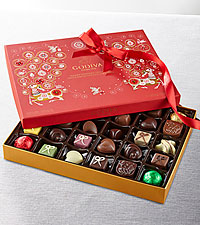 Happy Holidays Godiva® Chocolate & Truffle Box- 32-piece