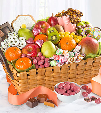 Spring Sensation Fruit & Sweets Gourmet Gift Basket - BEST