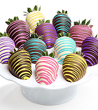 Spring Colors Belgian Chocolate Covered Strawberries - 12pc