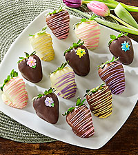 Spring Flowers Belgian Chocolate Covered Strawberries - 12pc