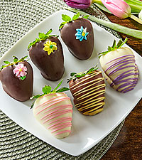 Spring Flowers Belgian Chocolate Covered Strawberries - 6pc