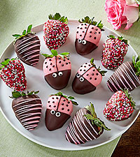 Cutie Bug Belgian Chocolate Covered Strawberries - 12pc