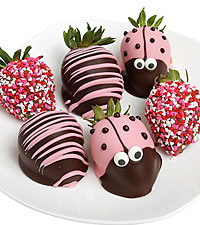 Cutie Bug Belgian Chocolate Covered Strawberries - 6pc