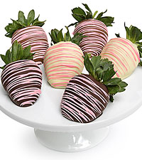 Elegant Pink Belgian Chocolate Dipped Strawberries - 6pc