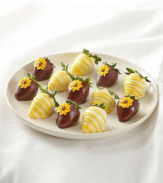 Full Dozen Sunny Days Belgian Dark Chocolate-Covered Strawberries