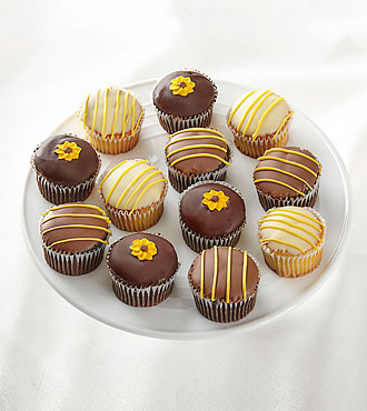 Full Dozen Sunny Days Belgian Chocolate-Dipped Cupcakes