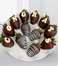 Chocolate Dip Delights™ Congratulations Berry Gram Real Chocolate Covered Strawberries-12pc