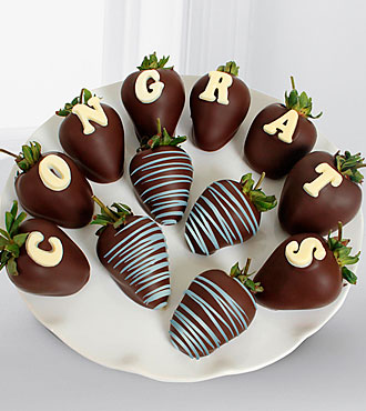 Shari's Berries™ Limited Edition Chocolate Dipped Congratulations Berry Gram Strawberries-12pc