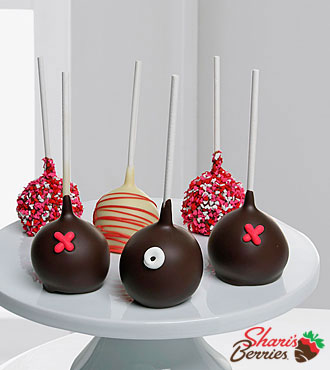Shari's Berries™ Limited Edition Chocolate Dipped Happy Valentine Cake Pops - 6-piece