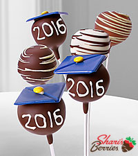 Belgian Chocolate Dipped Graduation Gourmet Cake Pops - 6 piece