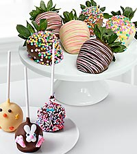 Chocolate Dip Delights™ Easter Sweets Real Chocolate Strawberry & Cake Pop Combo- 9-pc