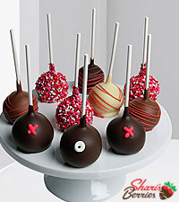 Belgian Chocolate Covered Happy Valentine's Day Cake Pops - 10-piece