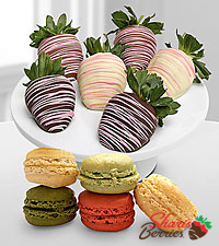 Chocolate Dip Delights™ Make Their Day Real Chocolate Covered Strawberry & Macaroon Combo