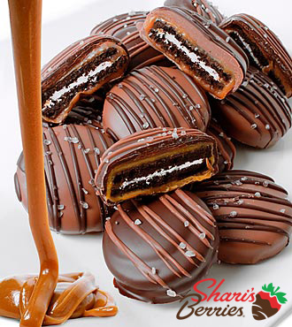 Shari's Berries™ Limited Edition Chocolate Dipped Sea Salt Caramel Oreo® Cookies-12pc