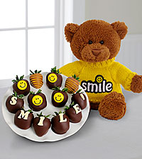 Shari's Berries™ Limited Edition Chocolate Dipped Smile Berry Gram with Plush Bear