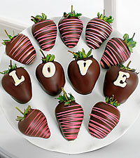 Belgian Chocolate Dipped Love Berry Gram Strawberries - 12-piece