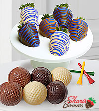 Belgian Chocolate Dipped Golf on Father's Day Berry & Chocolate Combo