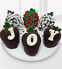 Shari's Berries™ Limited Edition Chocolate Dipped Christmas Joy Holiday Berry Gram - 6 pc