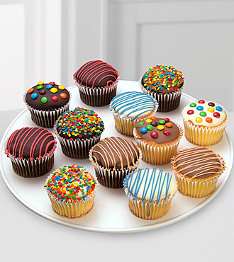 Belgian Chocolate Dipped Birthday Cupcakes