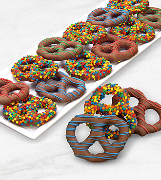 Belgian Chocolate Dipped Birthday Sprinkles Pretzel Twists
