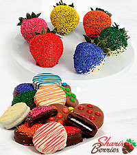 Belgian Chocolate Dipped Rainbow Strawberries & Oreo® Cookies