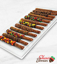 Belgian Chocolate Dipped Fall Pretzels