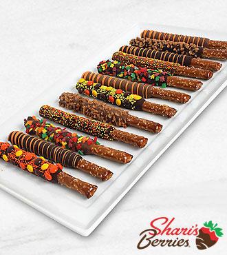 Belgian Chocolate Dipped Fall Pretzels