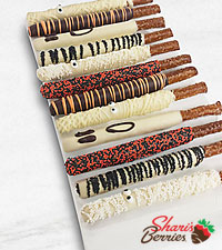 Belgian Chocolate Dipped Halloween Pretzels