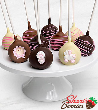 Belgian Chocolate Dipped  Baby Girl Congratulations Cake Pops