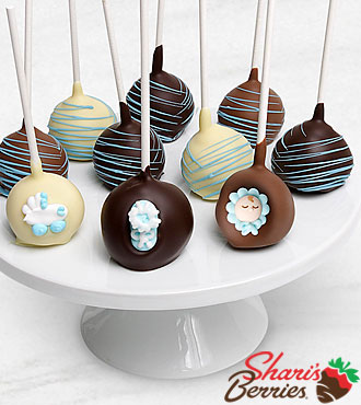 Belgian Chocolate Dipped Baby Boy Congratulations Cake Pops