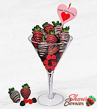 Valentine Love-tini Belgian Chocolate Covered Berry Martini Glass