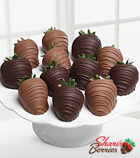 Chocolate Dip Delights™ No Sugar Added Milk & Dark Real Chocolate Strawberries - 12-piece