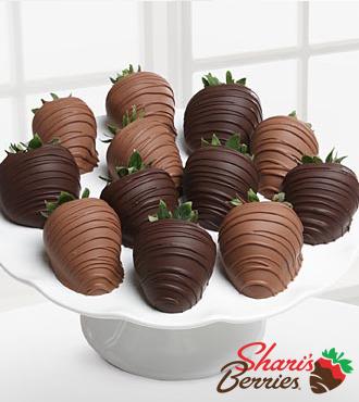 Chocolate Dip Delights™ No Sugar Added Milk & Dark Real Chocolate Strawberries - 12-piece