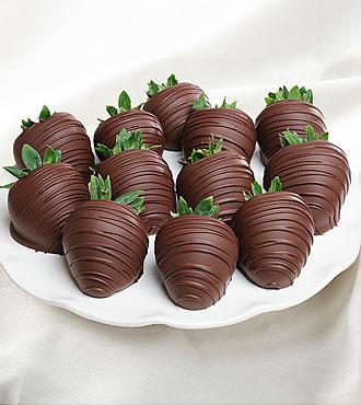 Dark Chocolate Covered Strawberries- 12 pc