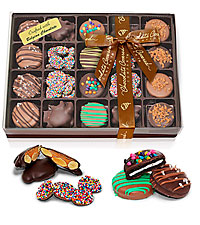 Celebration Belgian Chocolate Covered Sandwich Cookies, Almond Clusters, and Nonpareils Gift Box - 2