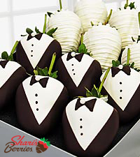Shari's Berries™ Limited Edition Chocolate Dipped Bride & Groom Strawberries - 12-piece