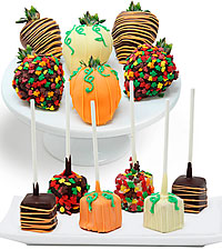 Fall Belgian Chocolate Covered Strawberries & Mini Cheesecake Pops – 12pc