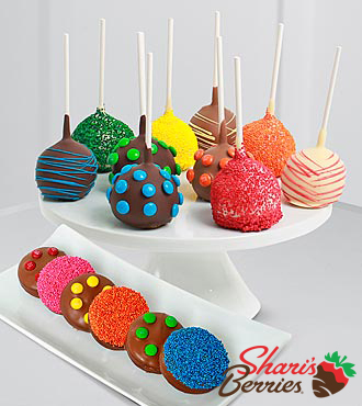 The FTD® Pick Me Up™ Real Chocolate Dipped Rainbow Cake Pops & Oreo® Cookies