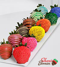 The FTD® Pick Me Up™ Real Chocolate Dipped Rainbow Strawberries -12 pieces