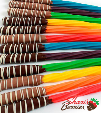 Shari's Berries™ Limited Edition Chocolate Dipped Rainbow Twizzlers® - 12 Piece